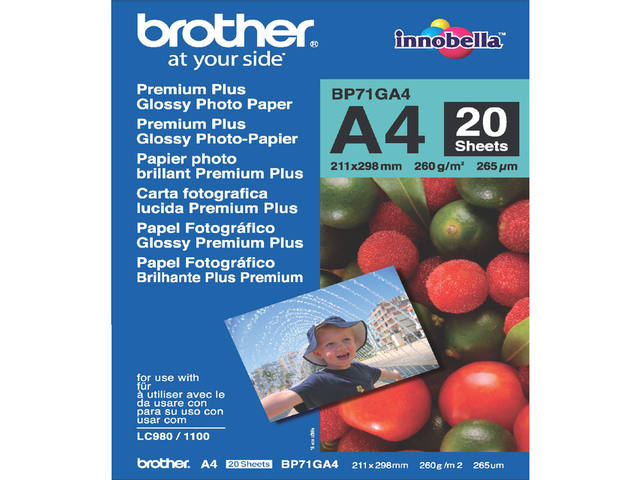 Inkjetpapier Brother Bp-71 A4 glans 260gr 20vel 1